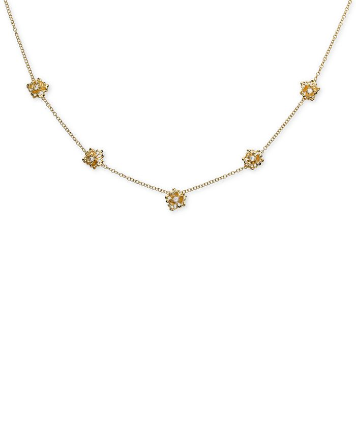 """Macy's - Diamond Flower Statement Necklace (1/3 ct. t.w.) in 18k Gold-Plated Sterling Silver, 16"""" + 2"""" extender"""
