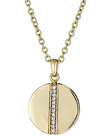 "Diamond Circle Pendant Necklace (1/8 ct. t.w.) in 18k Gold-Plated Sterling Silver, 16"" + 2"" extender"