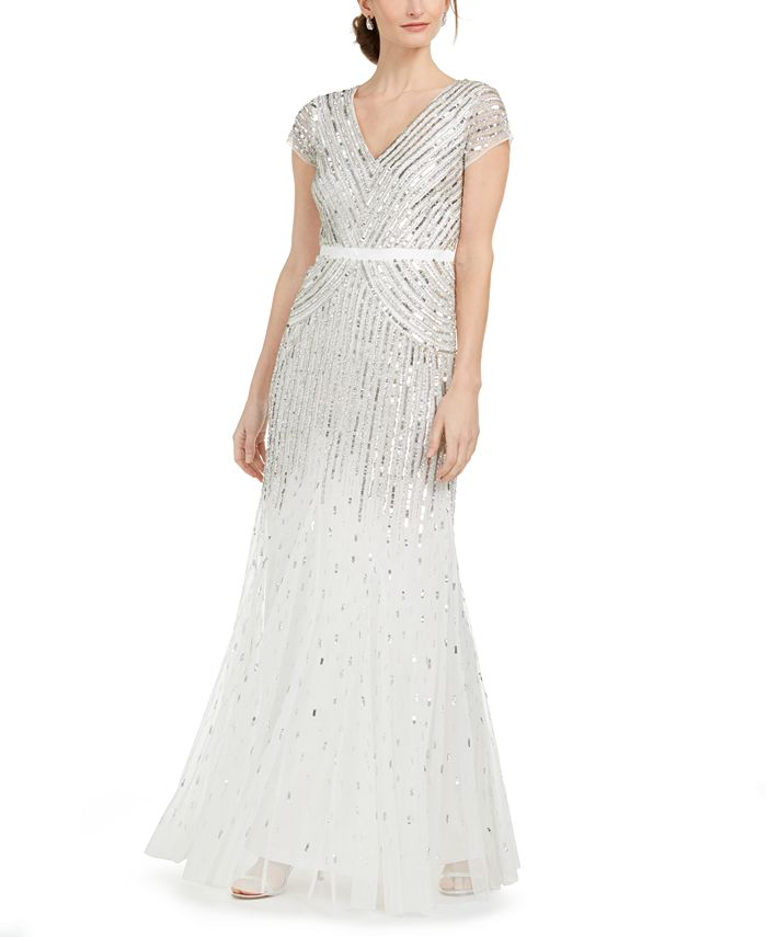 Adrianna Papell - Cap-Sleeve Beaded Sequined Gown