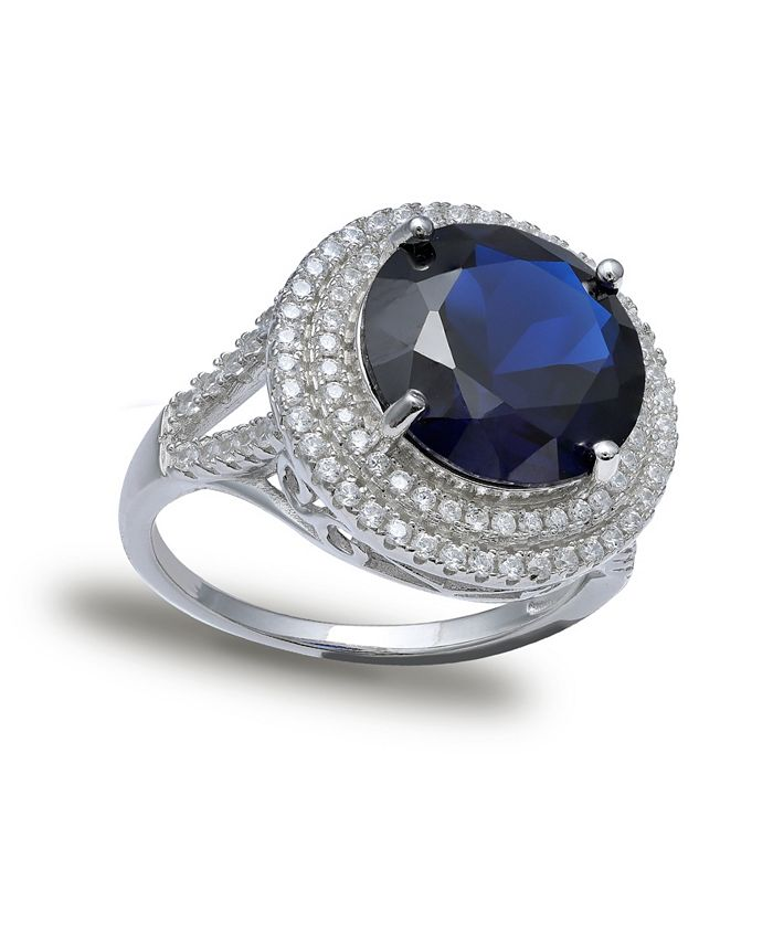 Macy's - Blue Cubic Zirconia Double Pave Row Ring (7-1/2 ct. t.w.) In Sterling Silver