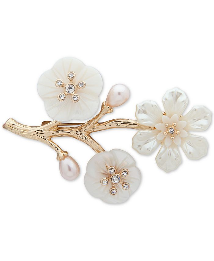 Anne Klein - Gold-Tone Pavé & Mother-of-Pearl Flower Branch Pin