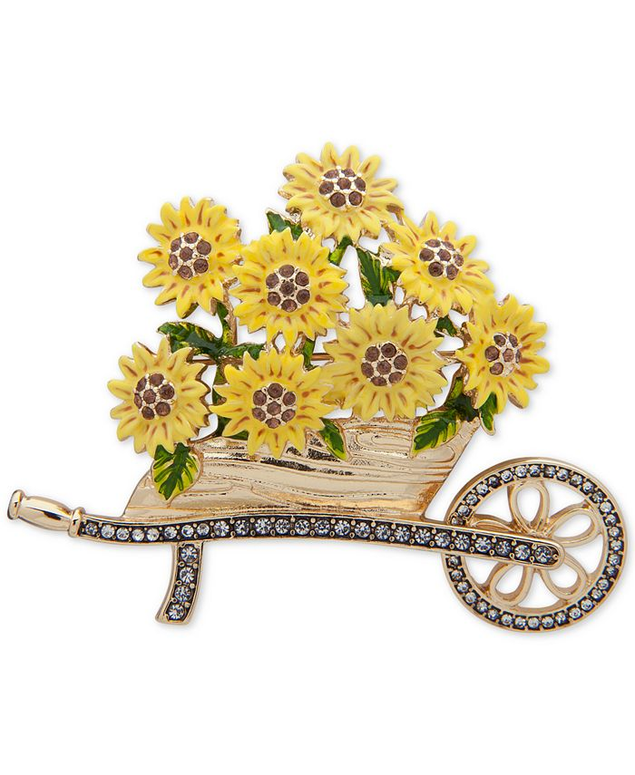 Anne Klein - Gold-Tone Pavé Sunflower Cart Pin