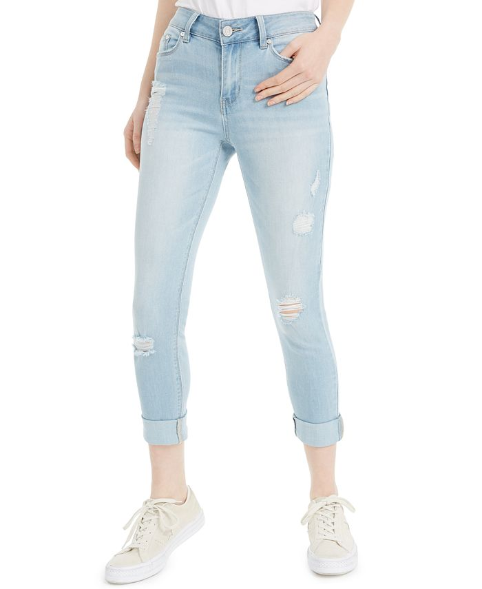Indigo Rein - Juniors' Ripped Roll-Cuff Skinny Jeans