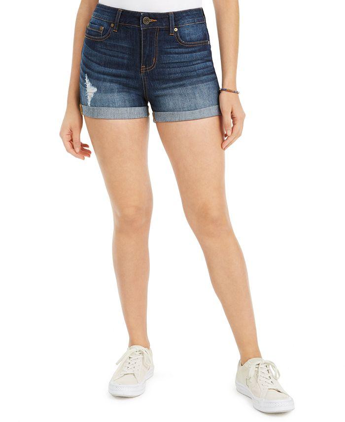 Indigo Rein - Juniors' Ripped Cuffed Denim Shorts