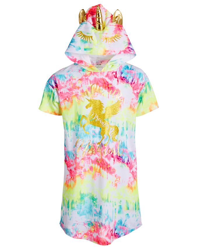 Max & Olivia - Big Girls Tie-Dyed Unicorn Hood Nightgown