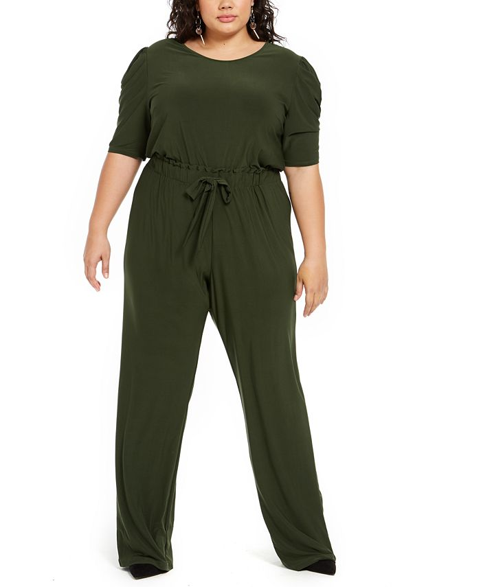 NY Collection - Plus Size Tie-Front Jumpsuit