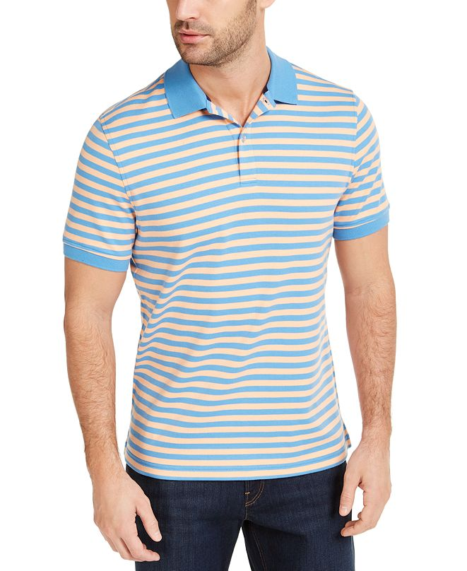 Club Room Men's Striped Interlock Polo Shirt, Created for Macy's