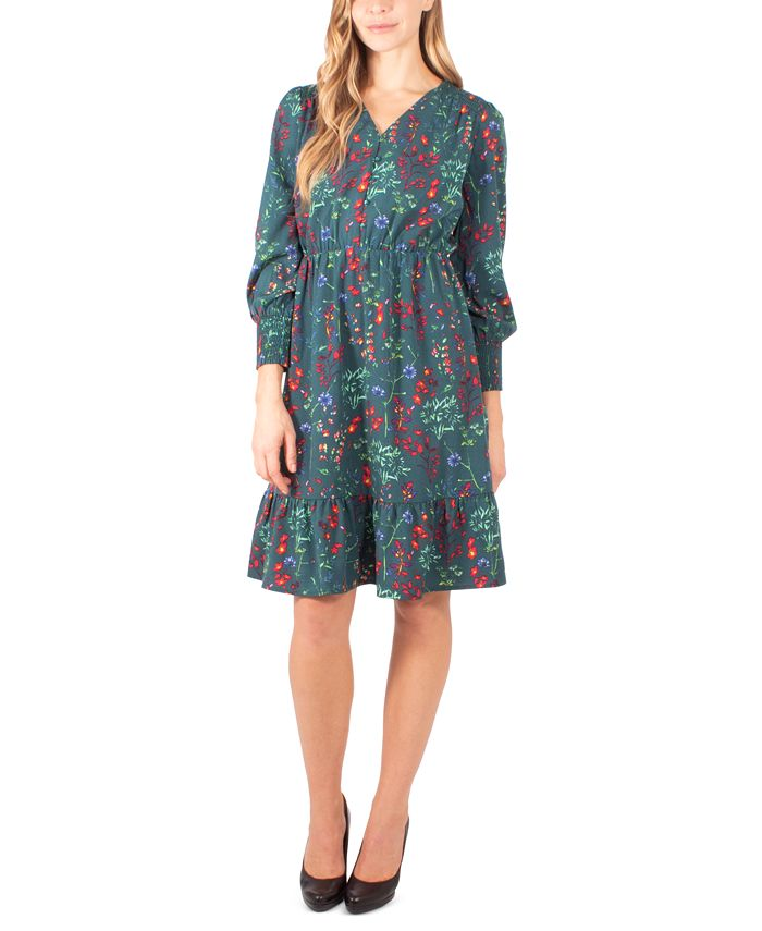 NY Collection - Petite Printed Smocked-Sleeve Dress