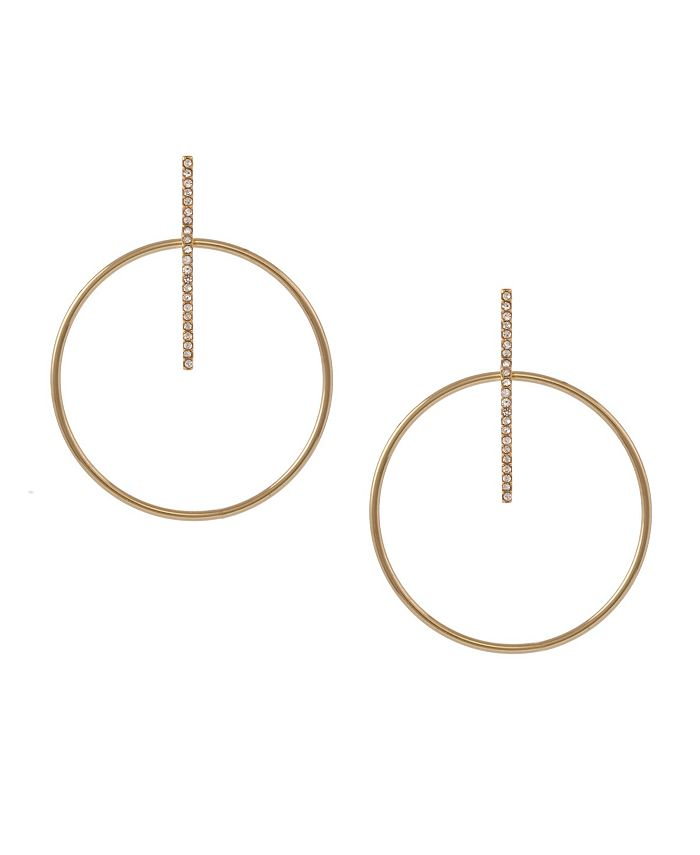 Christian Siriano New York - Gold Tone Pave Bar and Polished Wire Drop Earrings