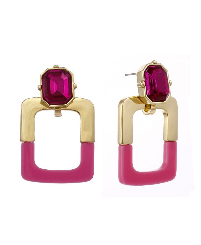 Christian Siriano New York - Gold Tone and Pink Resin Doorknocker Earrings