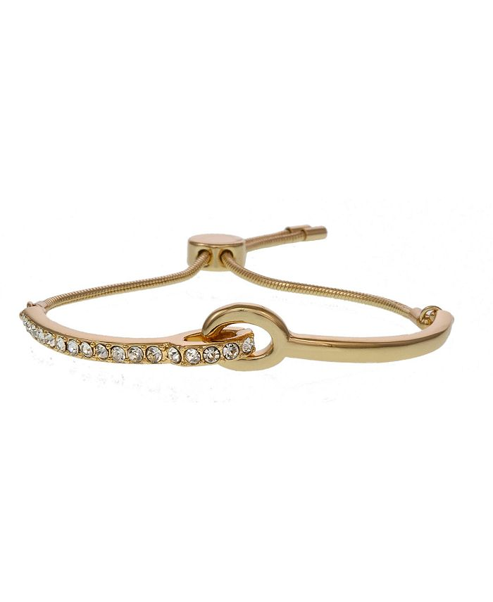 Christian Siriano New York - Christian Gold Tone Slider Bar Bracelets with Crystal Stones