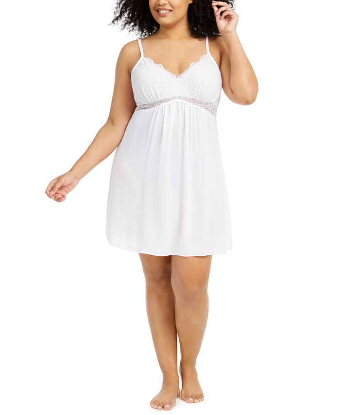INC International Concepts - Plus Size Lace Chiffon Chemise Nightgown