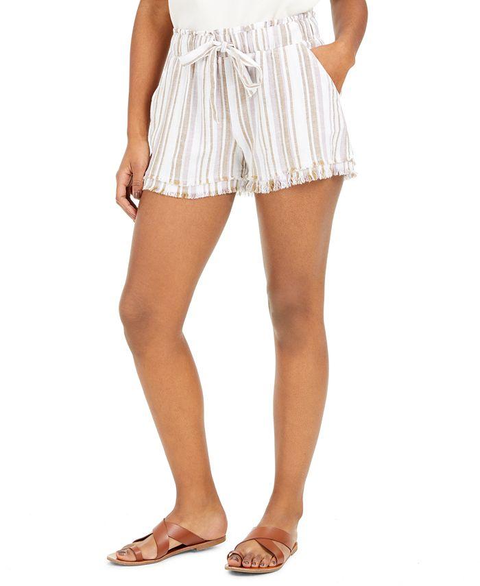 Rewash - Juniors' Striped Frayed Shorts