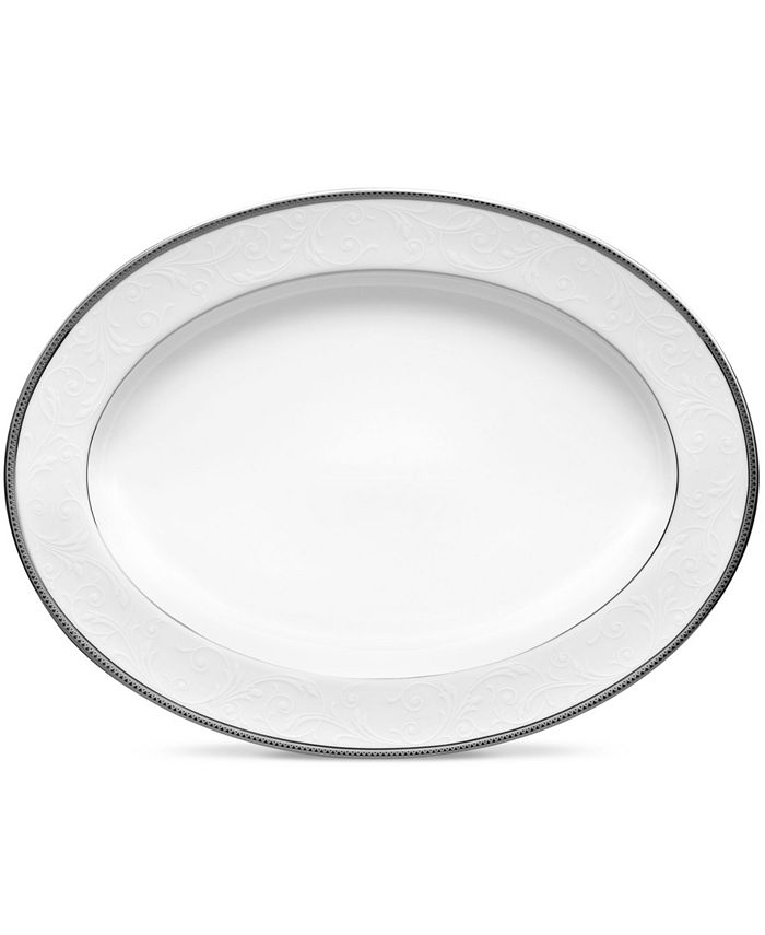 "Noritake - Regina Platinum Oval Platter, 12"""