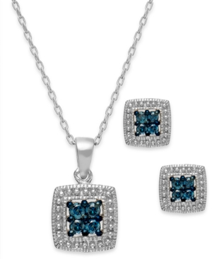 Diamond Necklace and Earring Set, Sterling Silver Blue Diamond Box Set (1/3 ct. t.w.)