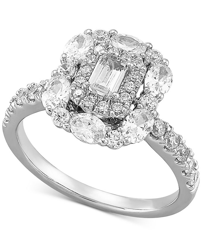 Macy's - Diamond Multi-Shape Halo Engagement Ring (1-1/2 ct. t.w.) in 14k White Gold