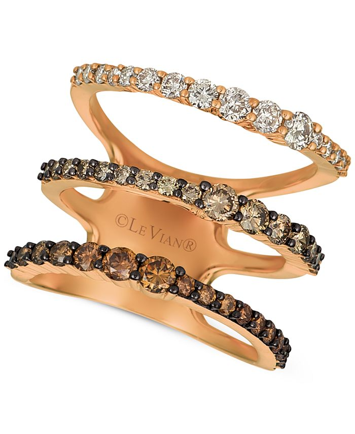 Le Vian - Ombré Chocolate Diamond Three Band Statement Ring (1-1/2 ct. t.w.) in 14k Rose Gold