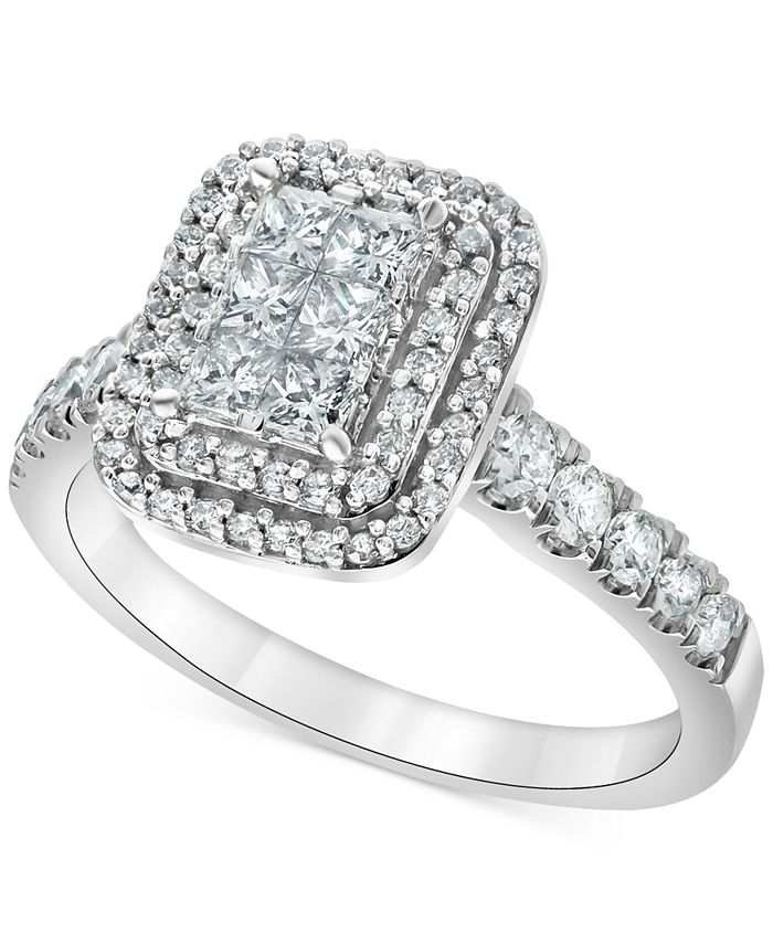 Macy's - Diamond Princess Halo Engagement Ring (1 ct. t.w.) in 14k White Gold