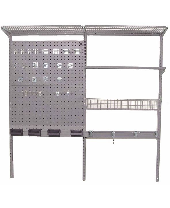 Triton Products Storability Locboard Wall Mount Storage System with 2 Locboards, Lochook Asst, 2 Wire Shelves, Steel Shelf with Mounting Hardware