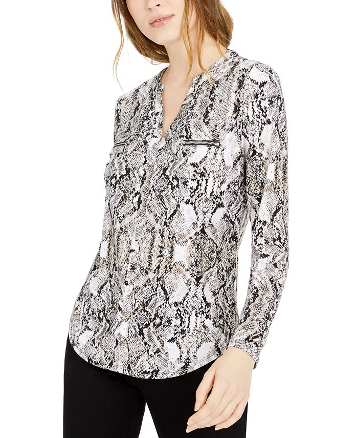 INC International Concepts - Printed Zip-Detail Top