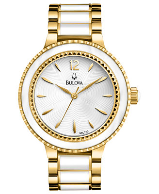 Bulova Women's White Enamel and Gold-Tone Stainless Steel Bracelet Watch 40mm 98L173