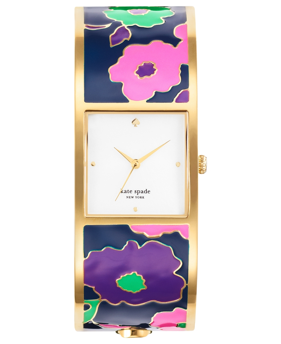 kate spade new york Watch, Womens Delacorte Floral Enamel and Gold Tone Stainless Steel Bangle Bracelet 25mm 1YRU0213   Watches   Jewelry & Watches