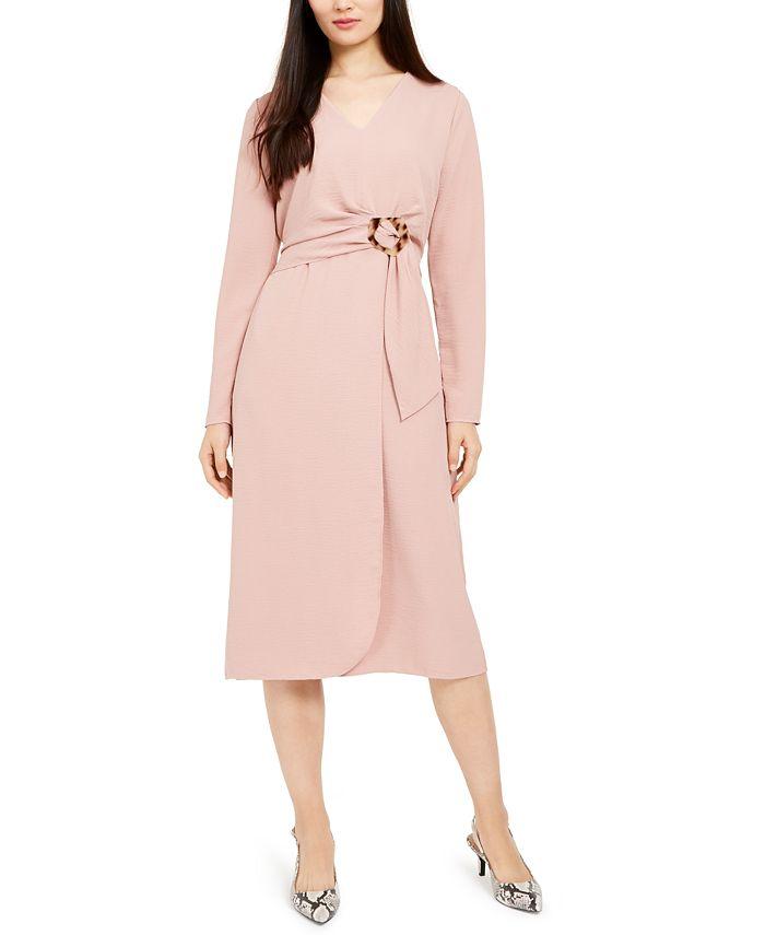 Alfani - Petite Hardware Faux-Wrap Dress