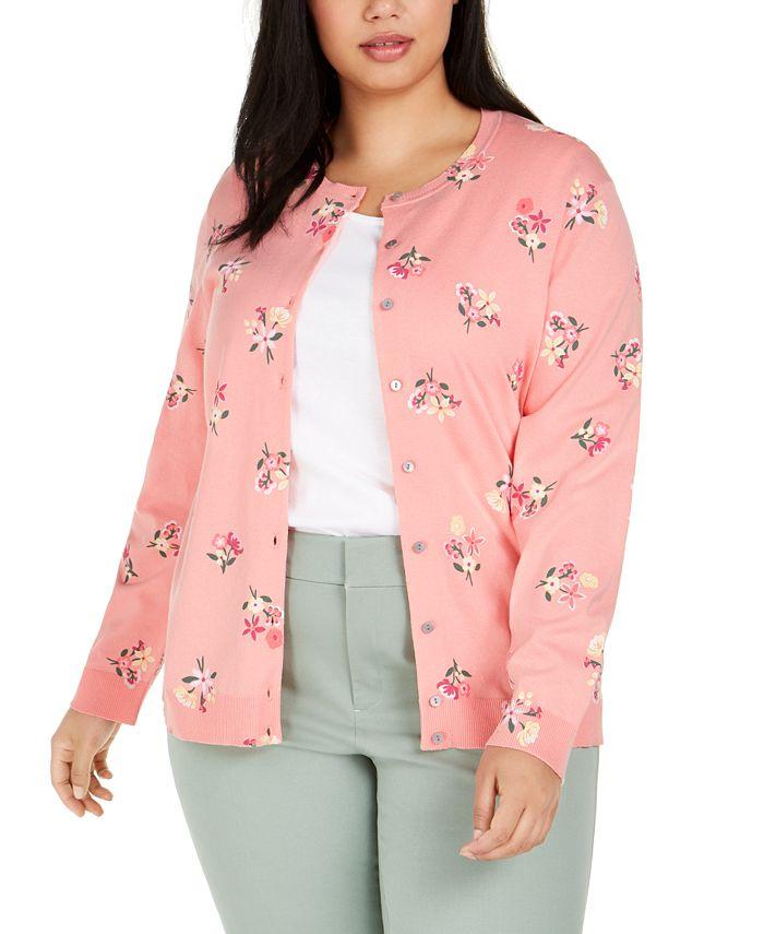 Karen Scott - Plus Size Floral-Print Cardigan