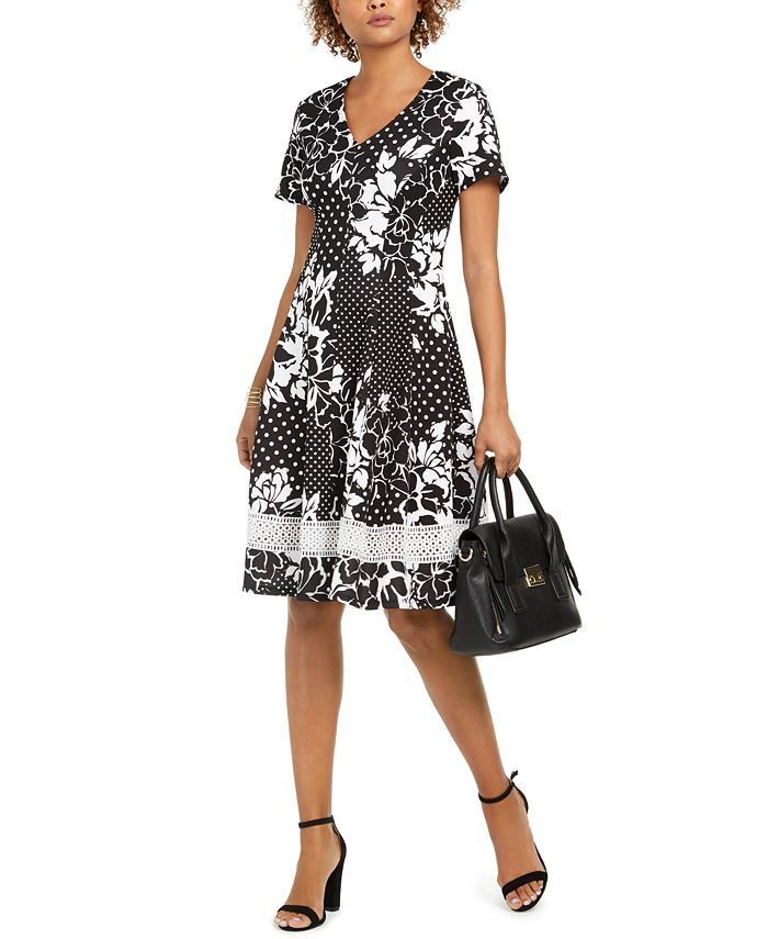 Robbie Bee - Petite Floral Dot Fit & Flare Dress