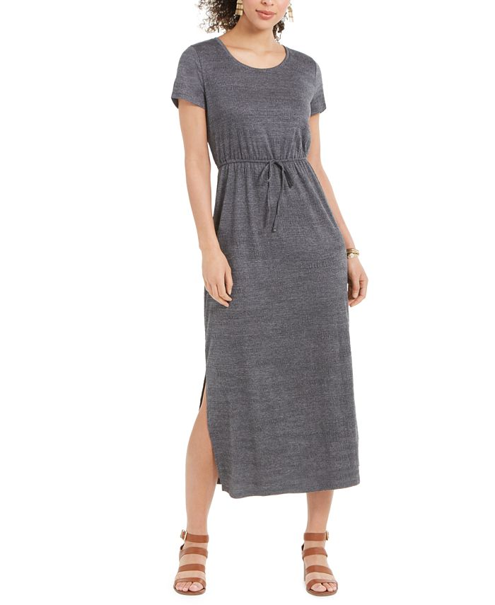 Style Co Textured Tie Waist Maxi Dress Created For Macy S Reviews Dresses Women Macy S
