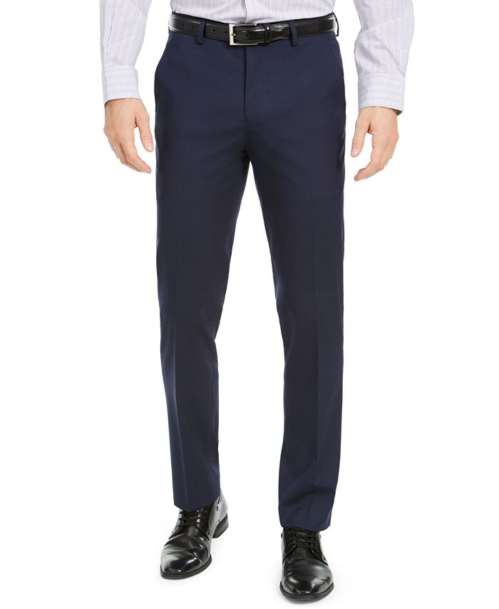 Alfani - Men's Slim-Fit Stretch Navy Blue Solid Suit Pants