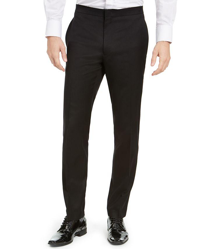 Alfani - Men's Slim-Fit Stretch Black Twill Suit Pants