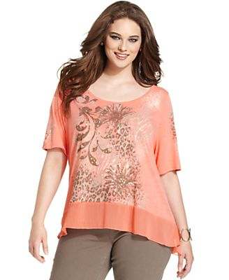Style&co. Plus Size Top, Short-Sleeve Printed Studded High-Low