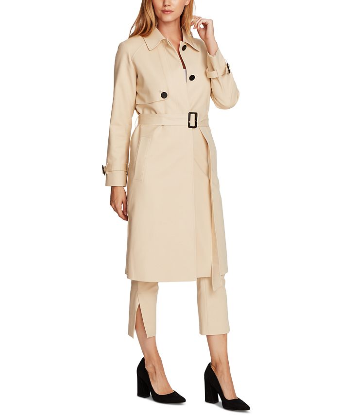 Vince Camuto - Cotton Double Weave Belted Trench Coat