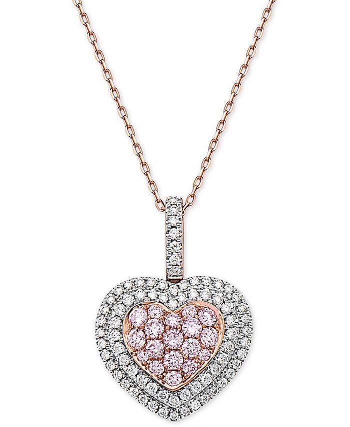 "Macy's - Diamond Heart 18"" Pendant Necklace (1 ct. t.w.) in 14k Rose Gold"
