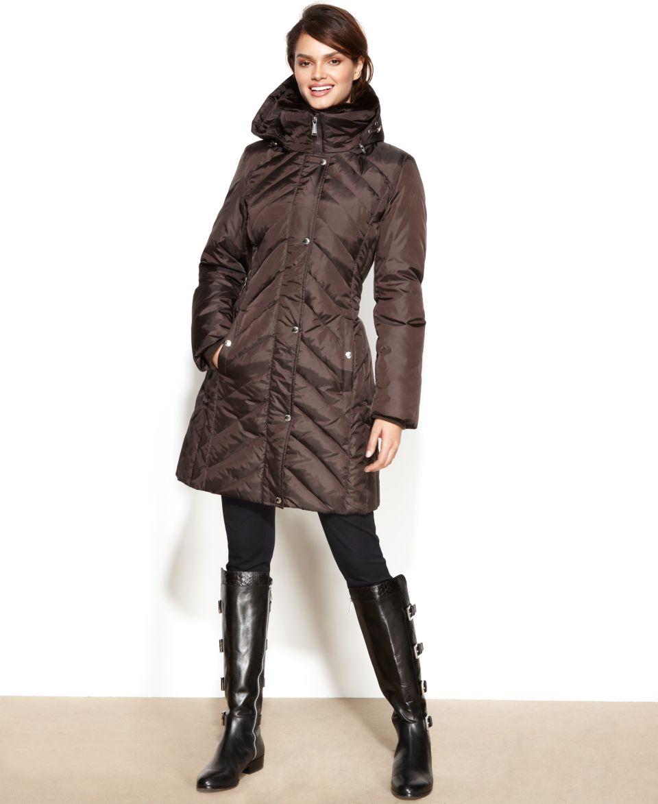 MICHAEL Michael Kors Hooded Faux Fur Collar Quilted Puffer Coat   Coats   Women
