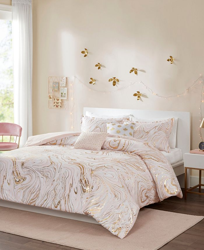 Intelligent Design - Rebecca Metallic Printed 4-Piece Twin/Twin XL Comforter Set