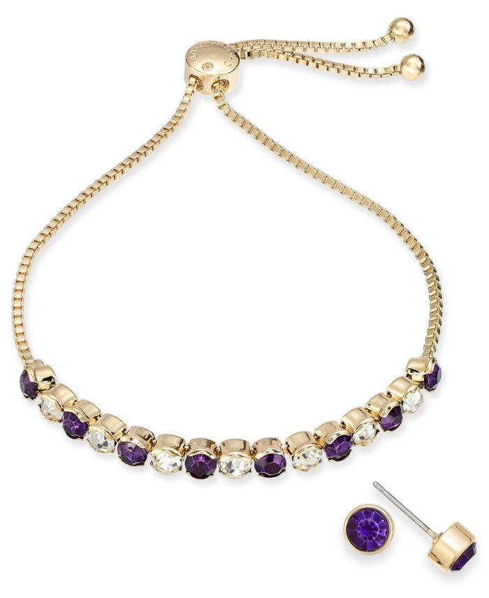 Charter Club Gold-Tone Crystal Birthstone Slider Bracelet & Stud Earrings Set, Created for Macy's & Reviews - Fashion Jewelry - Jewelry & Watches - Macy's