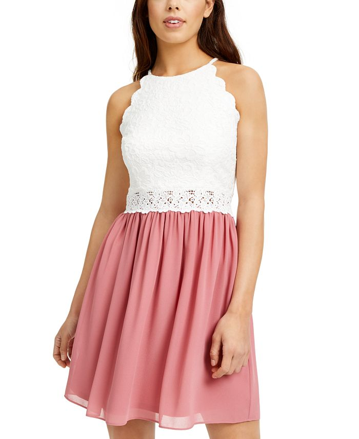 BCX - Juniors' Lace & Chiffon Dress
