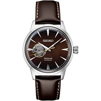 Deals on Seiko Mens Presage Automatic Brown Leather Strap Watch 40.5mm