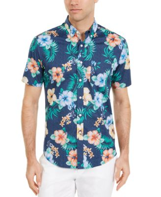 Men's Dot Floral Tropical Print Short Sleeve Shirt, Created for Macy's
