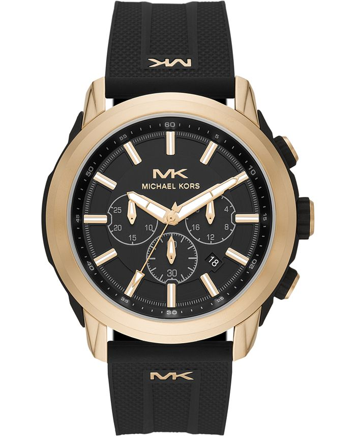 Michael Kors - Men's Chronograph Kyle Black Silicone Strap Watch 48mm