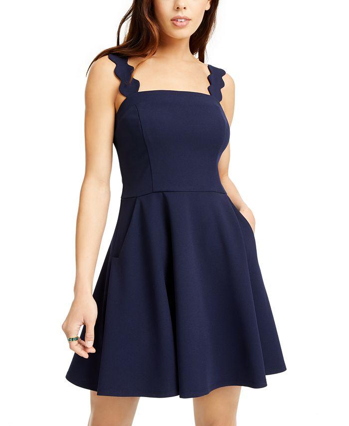 City Studios - Juniors' Scalloped Wide-Strap Dress