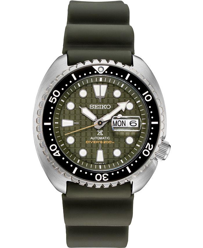Seiko - Men's Automatic Prospex King Turtle Green Silicone Strap Watch 45mm