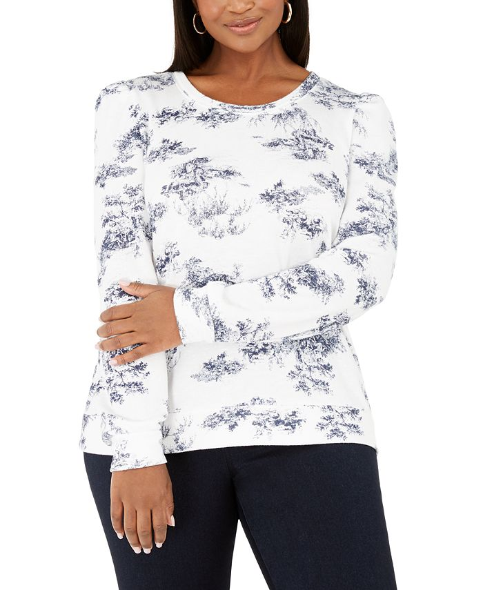 INC International Concepts - Plus Size Printed Puff-Sleeve Sweatshirt