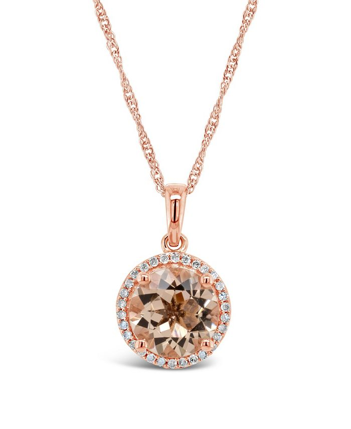 Macy's - Morganite (2-1/2 ct. t.w.) and Diamond (1/8 ct. t.w.) Pendant Necklace in Rose Gold-Plated Sterling Silver