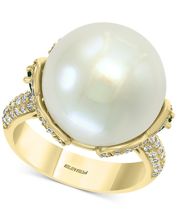 EFFY Collection - Cultured Freshwater Pearl (15mm) Emerald (1/2 ct. t.w.) & Diamond (5/8 ct. t.w.) Statement Ring in 14k Gold