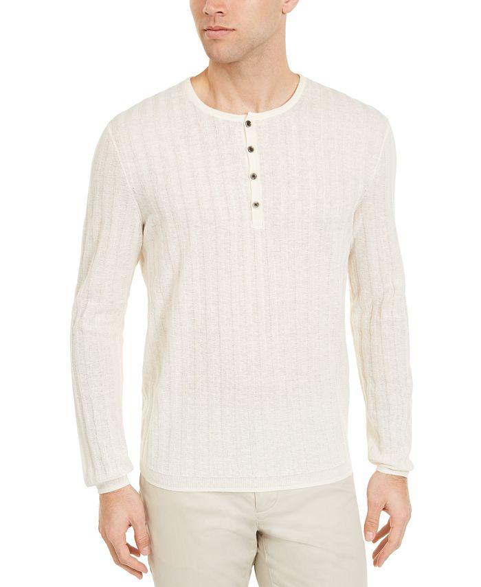 Alfani - Men's Textured Henley Sweater