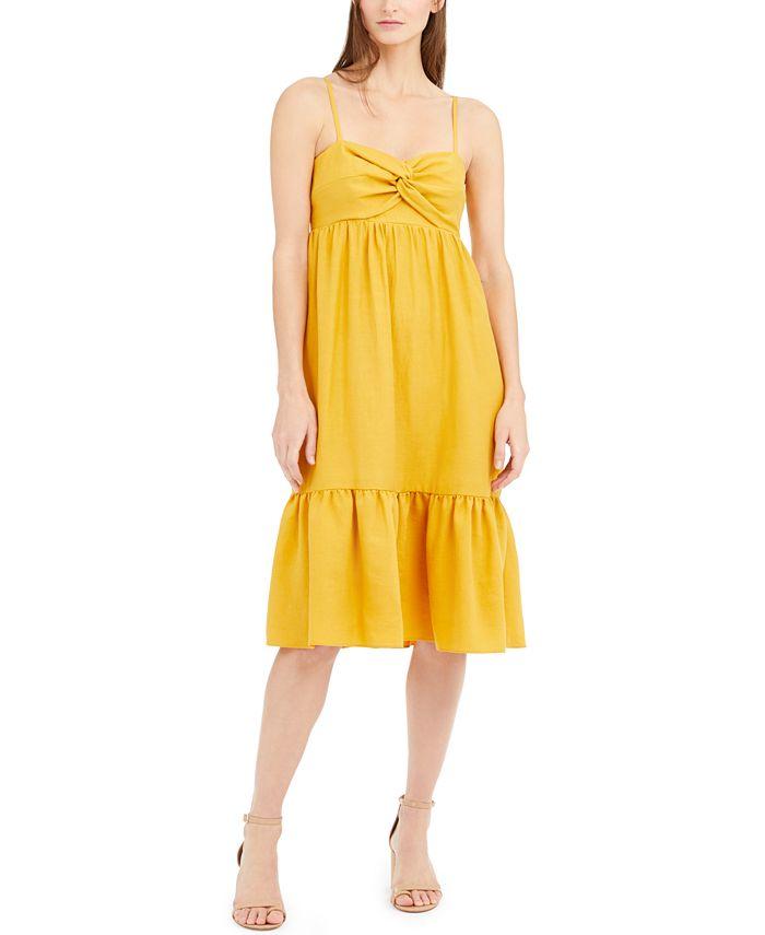 INC International Concepts - Twist-Front Linen-Blend Midi Dress
