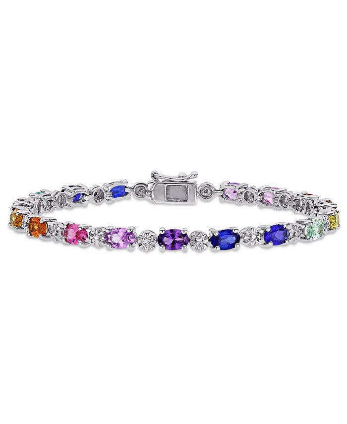 Macy's - Multi-Color Created Sapphire (9 7/8 ct. t.w.) and Diamond-Accent Tennis Bracelet in Sterling Silver